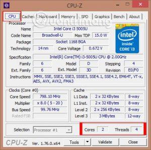Kiểm tra cấu hình laptop bằng CUP-Z